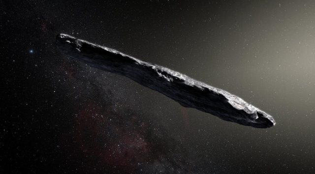 Artists impression of Oumuamua.